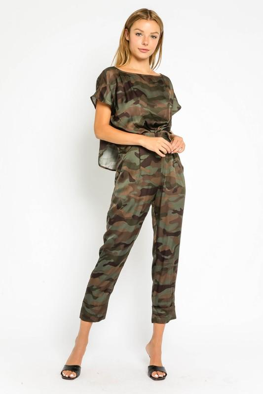Nikita Camouflage Jumpsuit with Buttoned Back