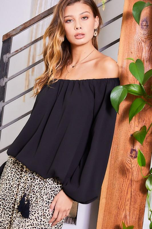 Summer Off The Shoulder Top - Black