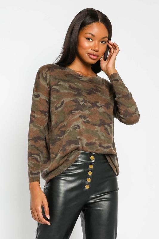 Kali Distressed Camouflage Sweater