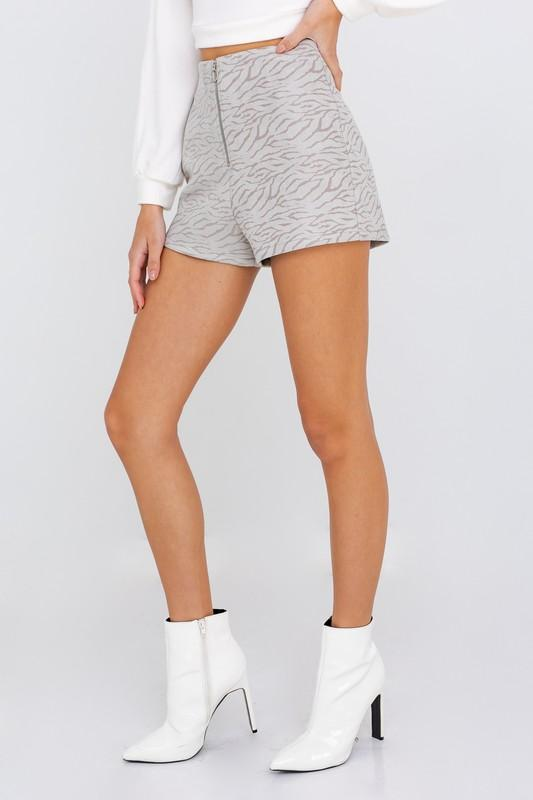 Diana Front Zip Animal Print Shorts