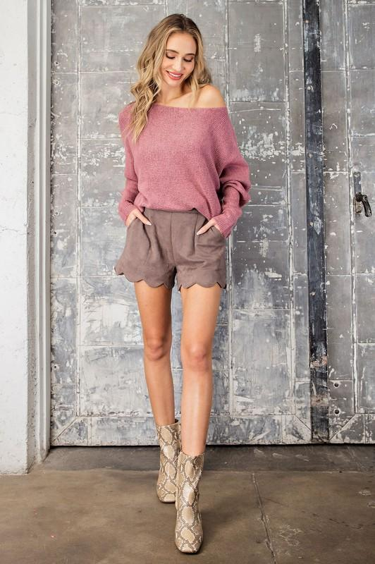 Eloise Off the Shoulder Ribbed Sweater - Mauve