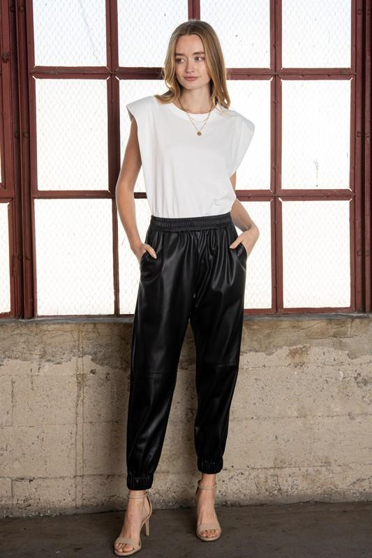 Lilianne Faux Leather Jogger Pants - Black