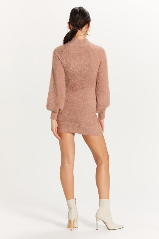 Bruna Fuzzy Mock Neck Sweater Dress - Taupe