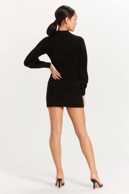 Bruna Fuzzy Mock Neck Sweater Dress - Black