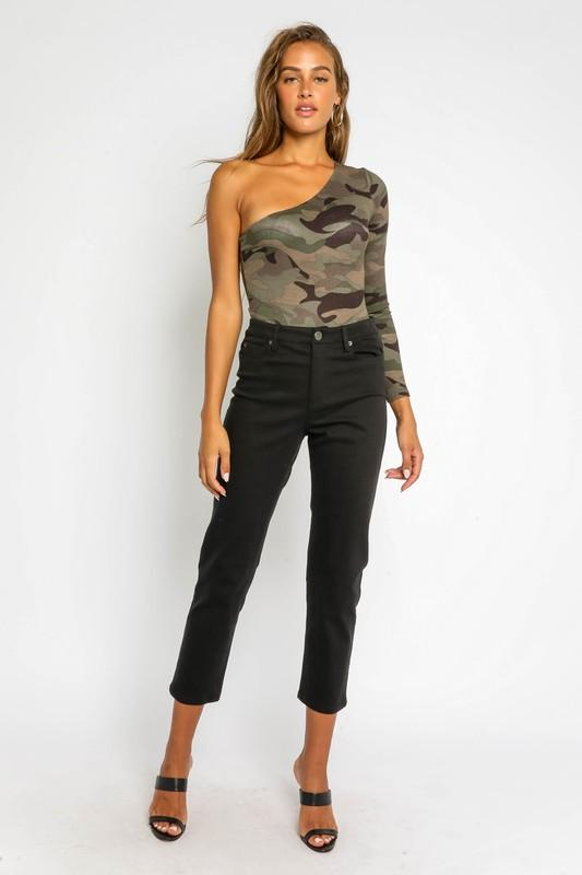 Lyla Camouflage One-Shoulder Bodysuit