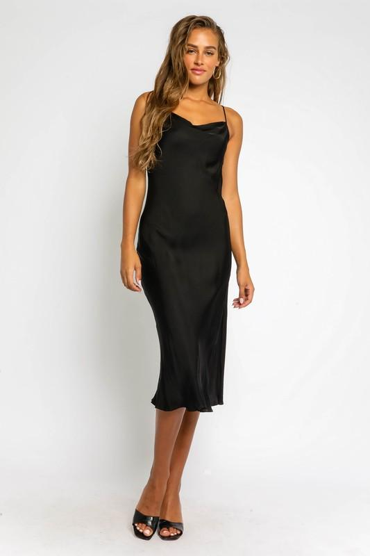 Addilyn Satin Midi Slip Dress - Black