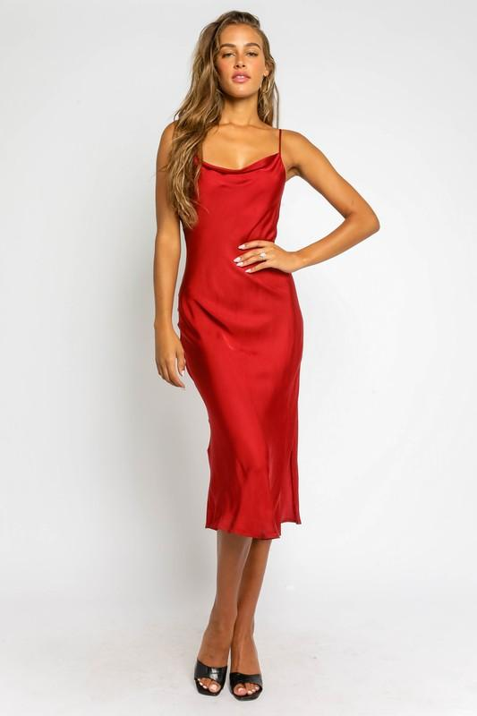 Addilyn Satin Midi Slip Dress - Red