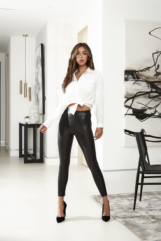 Kataleya High Waist Leather Legging - Black