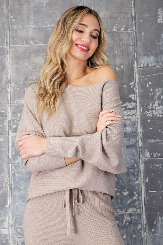 Amara Ribbed Sweater - Beige