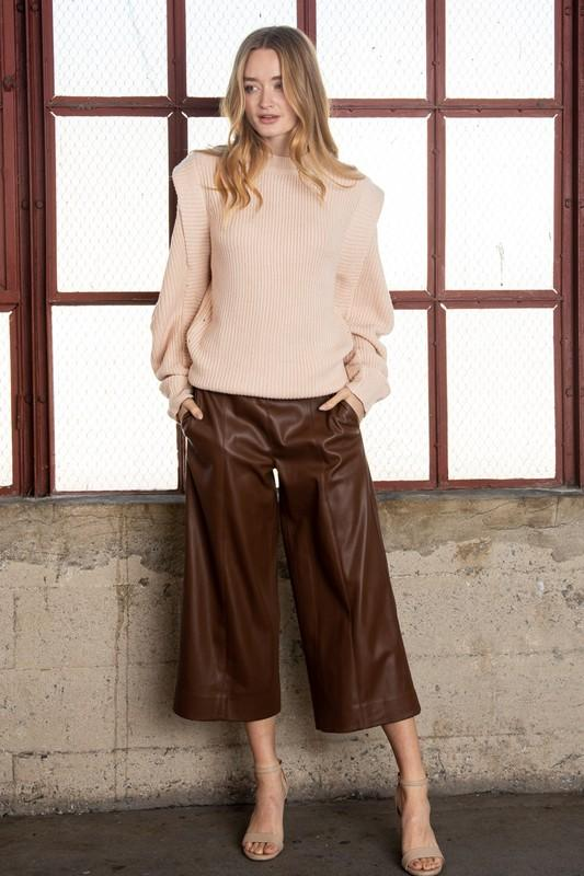 Aubriella Cropped Faux Leather Pants - Brown