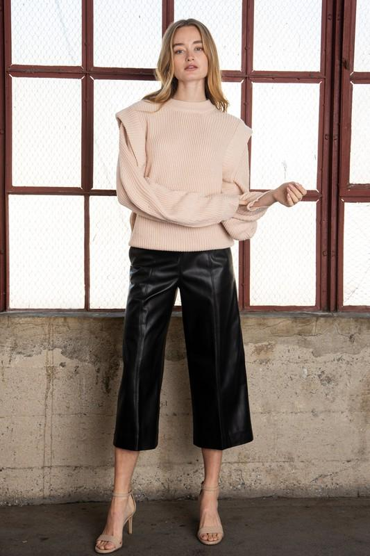 Aubriella Cropped Faux Leather Pants - Black