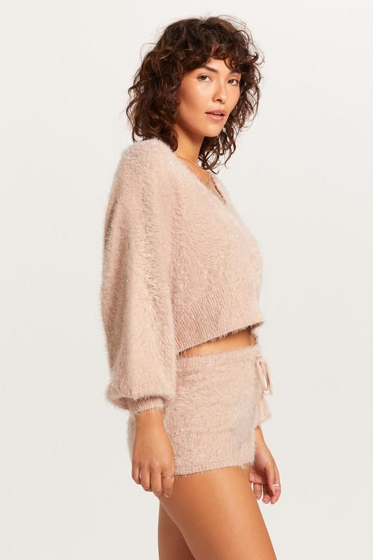 Tabitha Fuzzy Bubble Sleeve Sweater - Blush