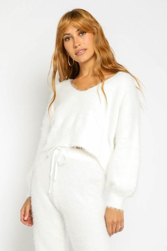 Tabitha Fuzzy Bubble Sleeve Sweater - Ivory