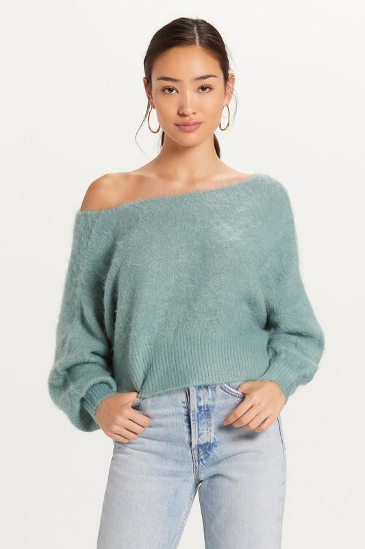 Monica Off the Shoulder Fuzzy Sweater - Moss