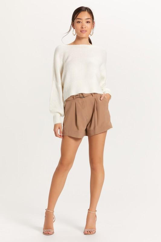 Monica Off the Shoulder Fuzzy Sweater - Ivory