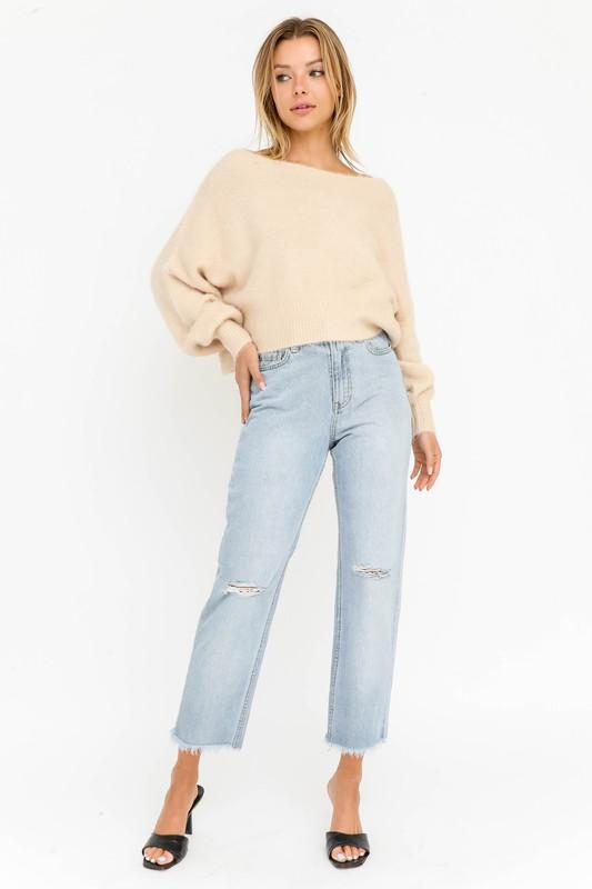 Monica Off the Shoulder Fuzzy Sweater - Champagne