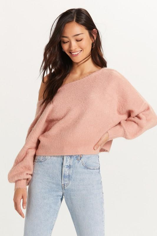 Monica Off the Shoulder Fuzzy Sweater - Blush