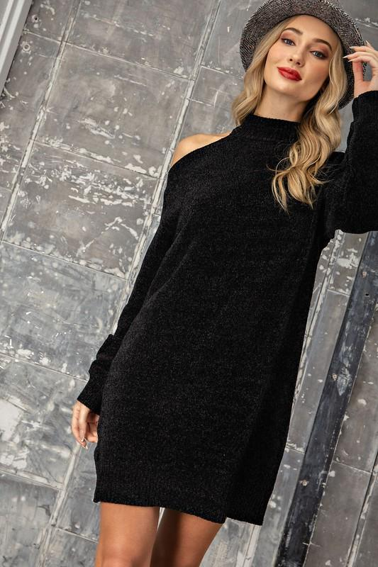 Blakely Cold Shoulder Turtleneck Sweater Dress