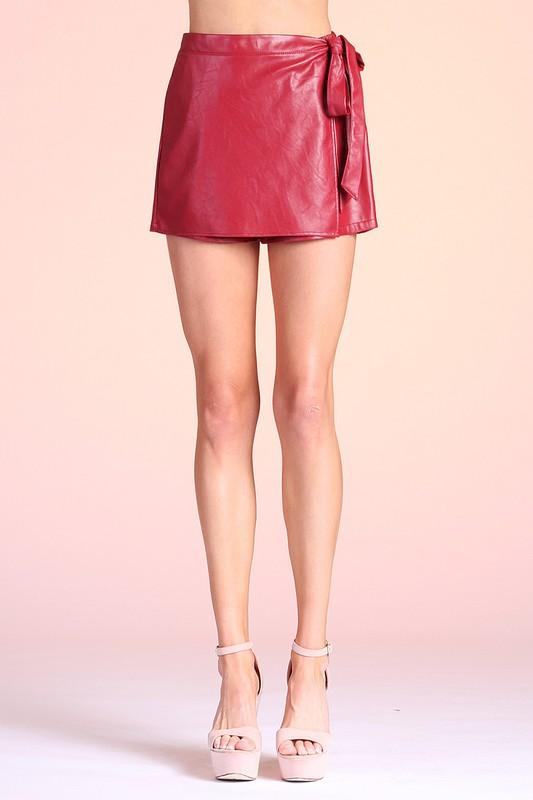 Remi Side Wrap Skort - Red