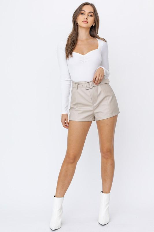 Alejandra Belted Faux Leather Shorts