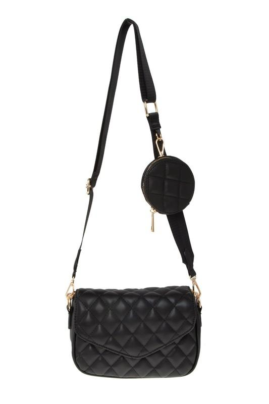 Rory Quilted Shoulder bag with Pouch Attached - Black