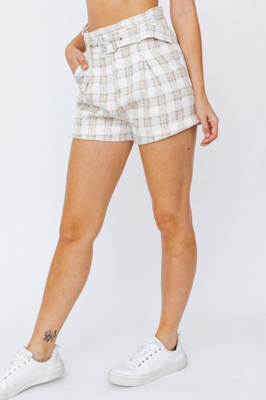 Gabrielle Paper Bag Plaid Shorts with Belt