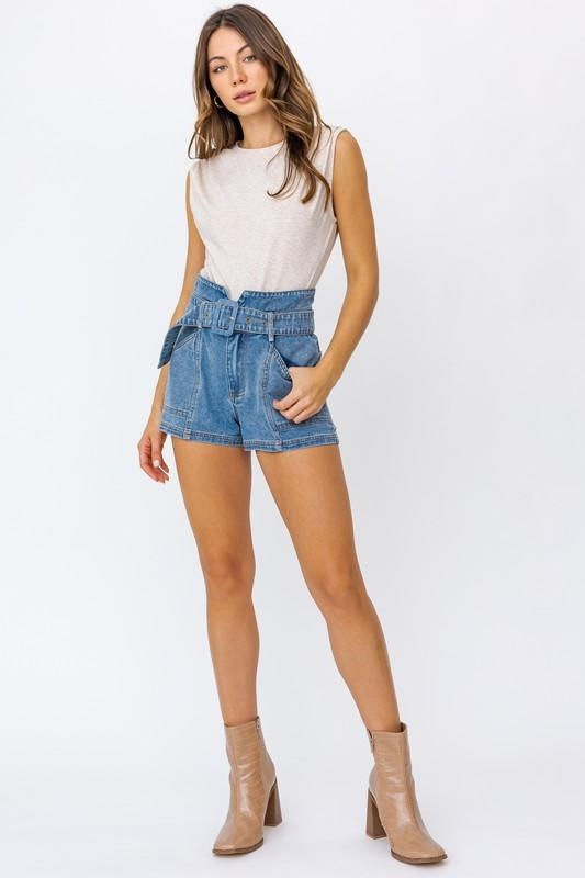 Adriana Paperbag Self Belt Denim Shorts