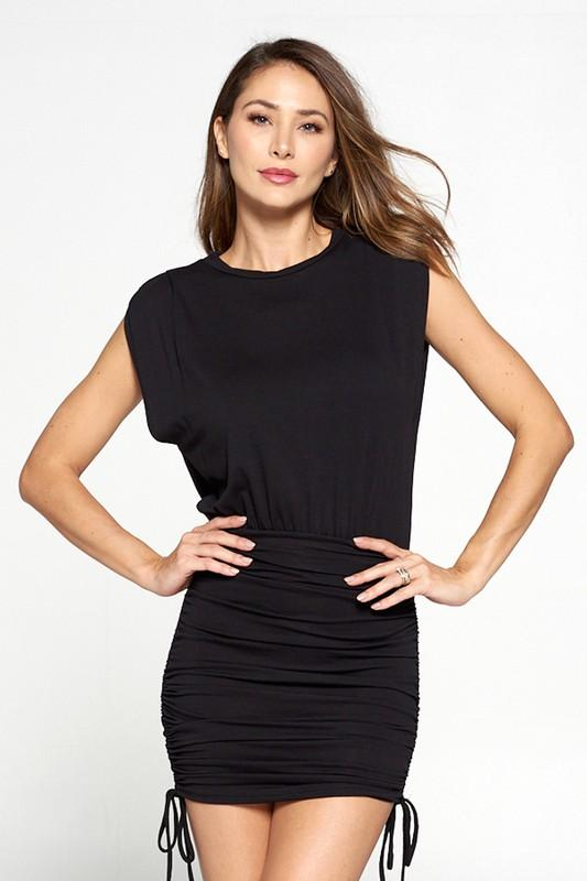 Ziva Sleeveless Ruched Bottom Mini Dress