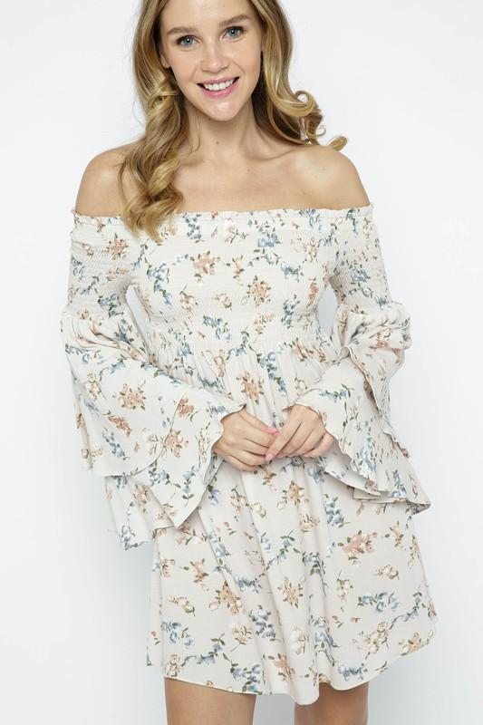 Cosette Off the Shoulder Printed Dress