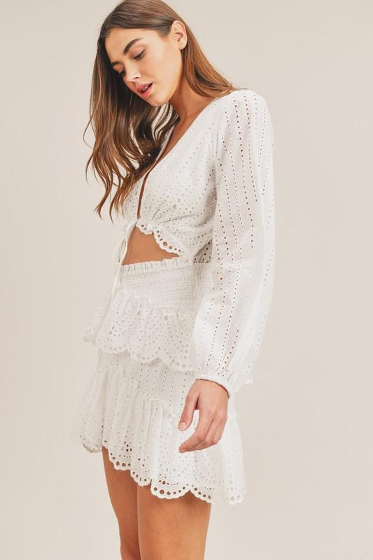 Marlowe Cut Out Eyelet Mini Dress