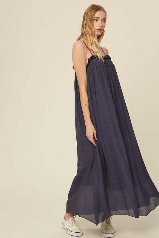 Delanie Ruffle Cami Maxi Dress - Midnight
