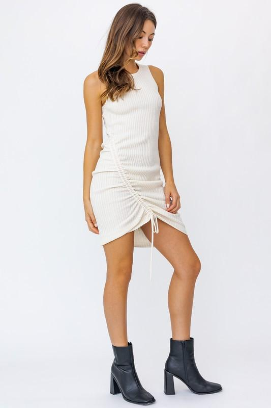 Leilani Ruched Detail Ribbed Mini Dress