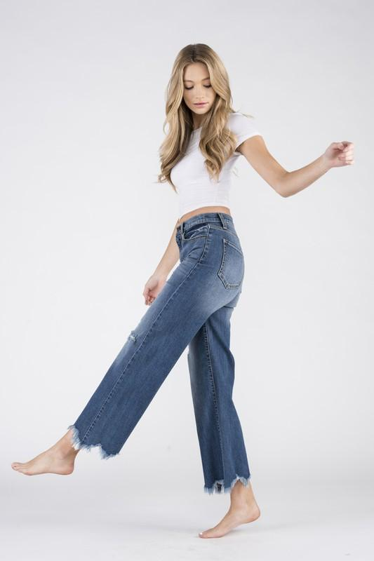 Chloe High Rise Cropped Wide Leg Jeans