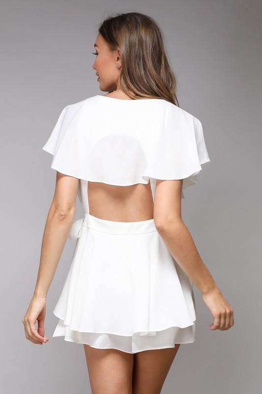 Meagan Wrap Cut-Out Back Romper - Linen White