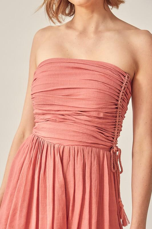 Evie Strapless Romper with Side Tassel
