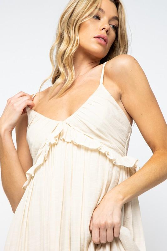 Diviana Scoop Neckline Maxi Dress - Champagne
