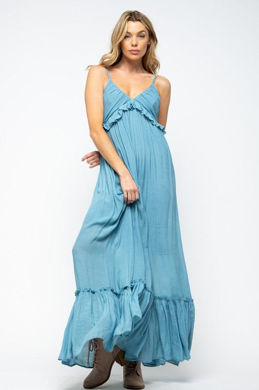 Diviana Scoop Neckline Maxi Dress - Dusty Blue