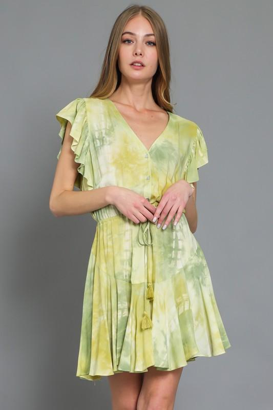 Ari Tie Dye Mini Dress - Green
