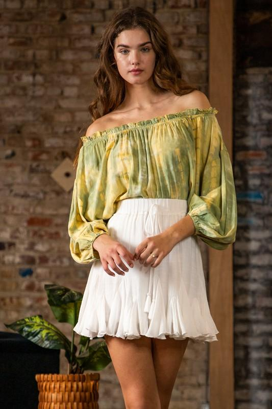 Arely Off the Shoulder Tie Front Top