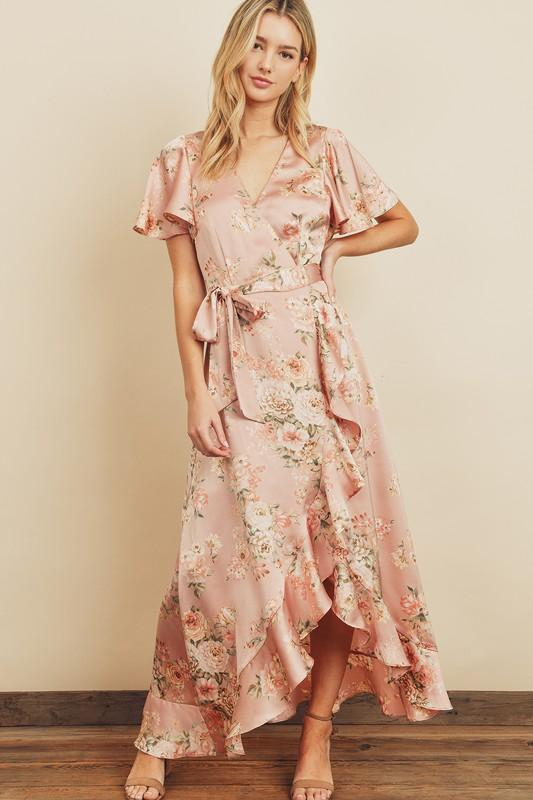 Cayla Floral Print Hi-Lo Ruffled Wrap Dress