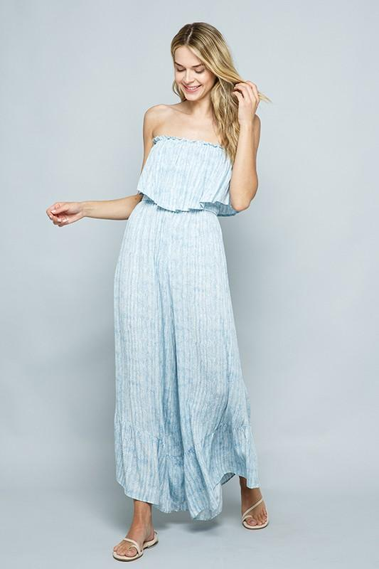 Bianca Printed Ruffle Jumpsuit - Light Blue