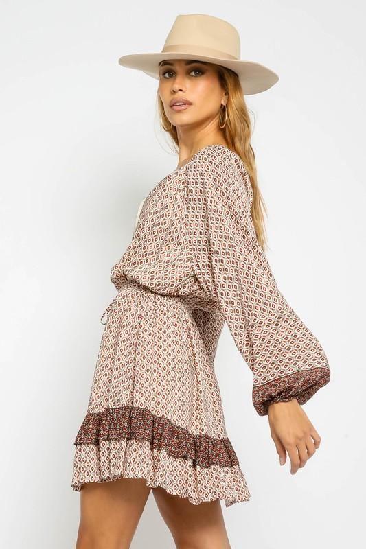 Avelyn Printed Dress with Bubble Sleeves
