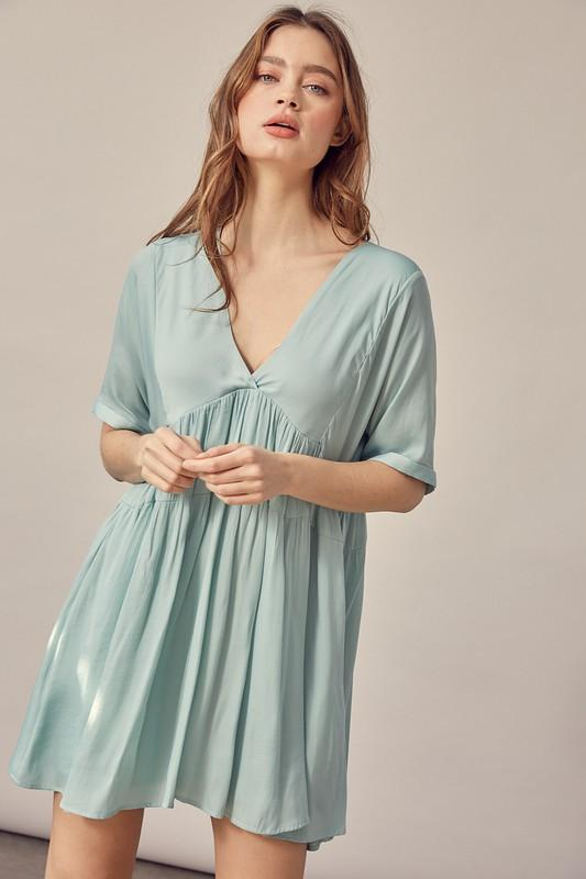 Anisa Babydoll Dress with Tie Detail - Mint