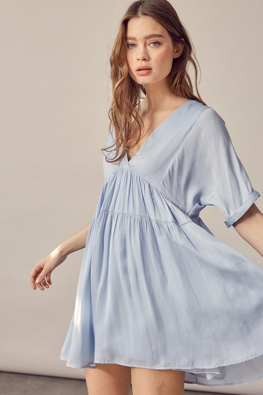 Anisa Babydoll Dress with Tie Detail - Misty Blue