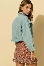 Daniela Elastic Waist Crop Denim Jacket