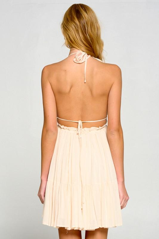 Arlet Halter Style Mini Dress - Oatmeal