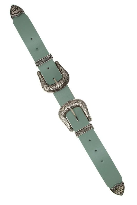 Lena Double Silver Buckle Western Belt - Sage