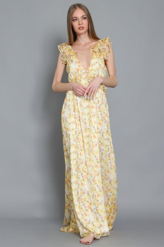 Tallula Open Back Ruffle Maxi Dress - Yellow/Orange