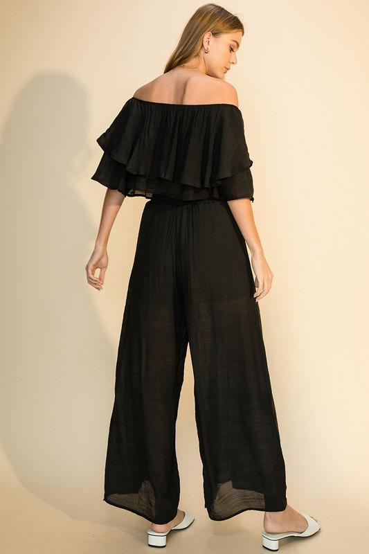 Adeen Off The Shoulder Top and Palazzo Pant Set - Black