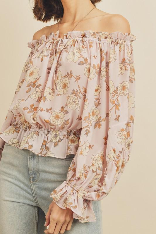 Sydney Off The Shoulder Floral Long Sleeve Top